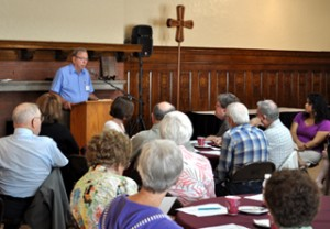 Chair of the Waldorf Lutheran College Foundation Ray Beebe addresses the Association of Congregations at the meeting held on August 25, 2011.